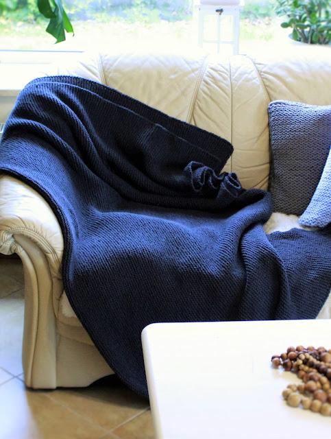 pled ręcznie robiony na drutach, koc na drutach, jak zrobić