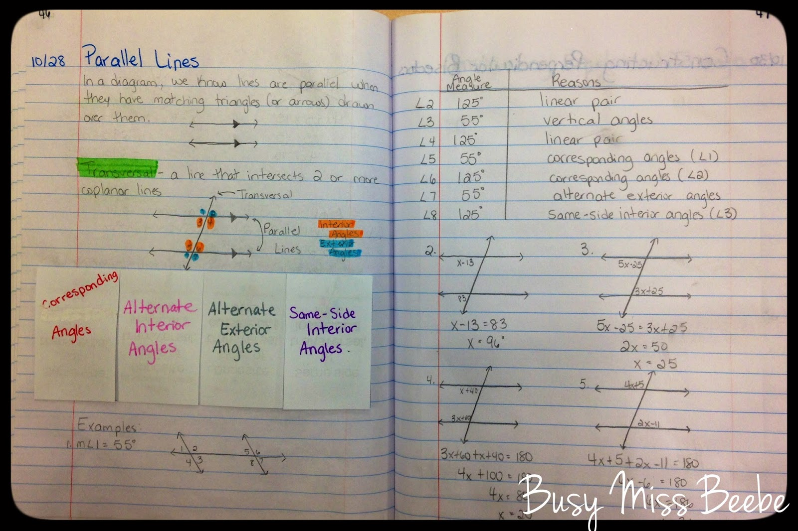 Busy Miss Beebe Geometry Inb Unit 3 Lines