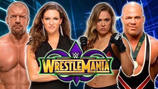 Roundey Roussay and Kurt Angle vs Triple H and Stephanie McMahon at Wrestlemania 34