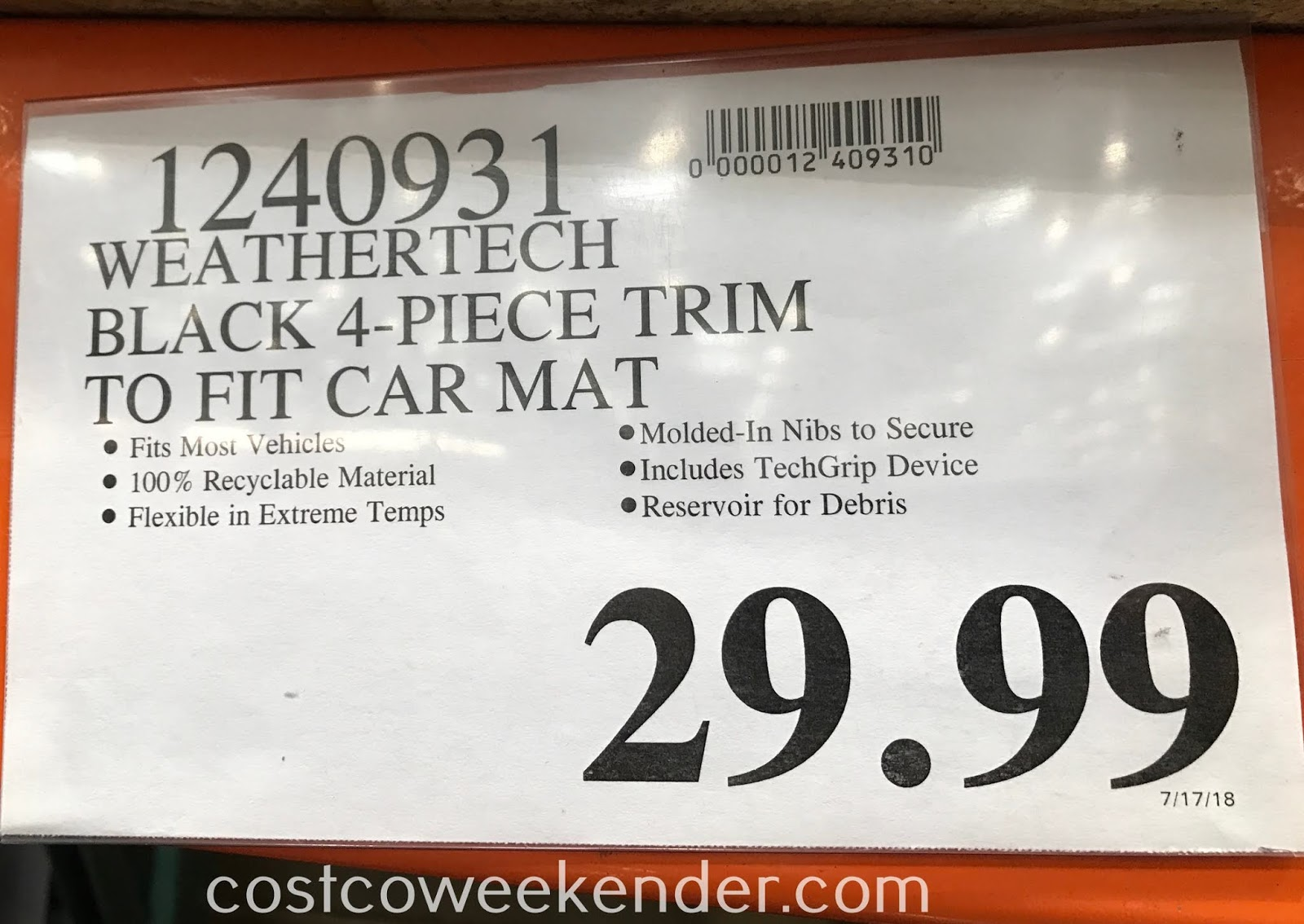 Deal for WeatherTech 4-piece All Weather Floor Mat Set at Costco