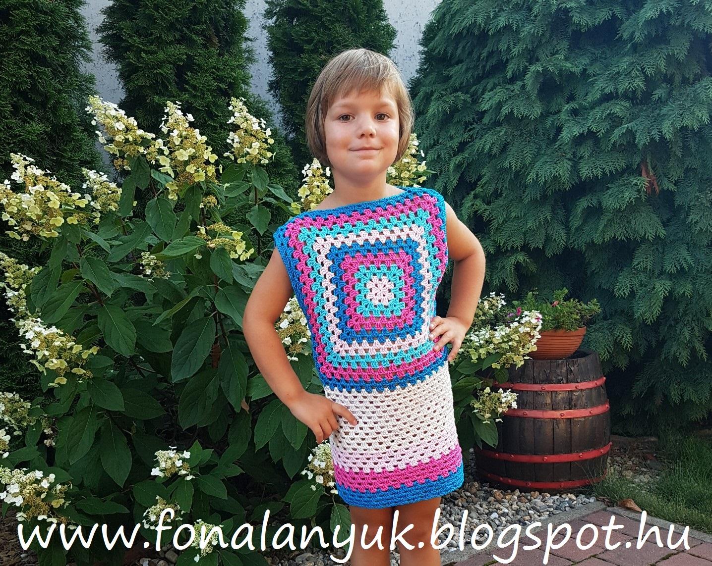 42b0b515bd FONAL ANYUK: Gyors nyári ruha nagyinégyzetből horgolva (gyereknek és ...