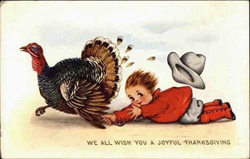 We All Wish You A Joyful Thanksgiving Boy And Turkey Original Genuine Vintage Postcard