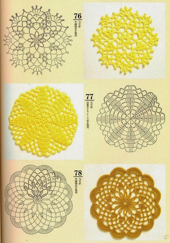 Motivos Circulares de Crochê Com Gráficos 01