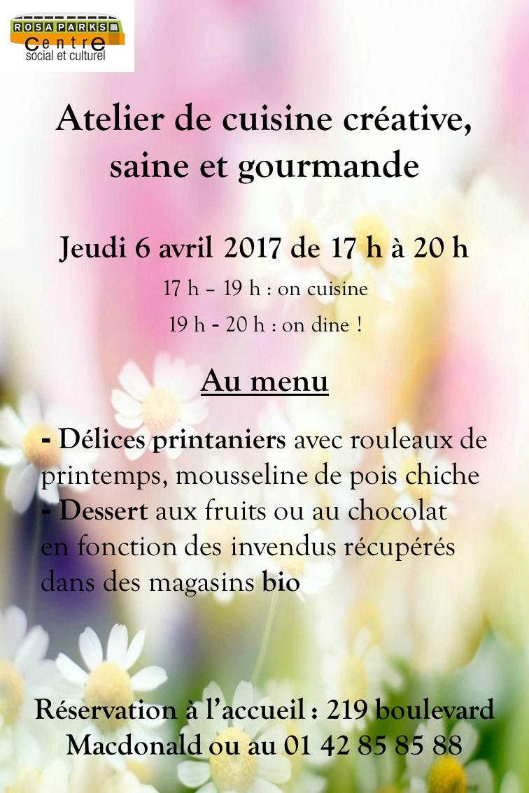 Centre social et culturel rosa parks atelier cuisine - Cuisine saine et gourmande ...