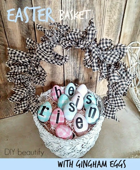 Updated Basket and Gingham Painted Eggs www.diybeautify.com