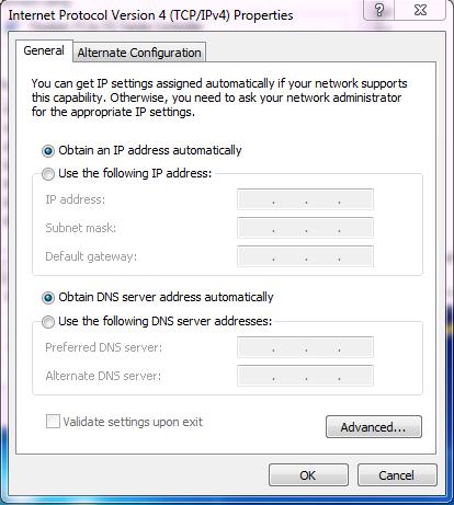 Setting obtain IP pada PC agar bisa menerima IP dhcp