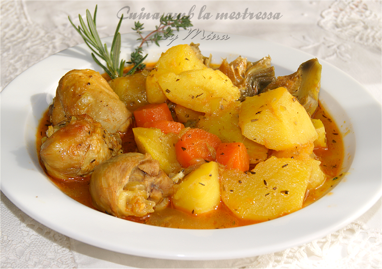 Cuina amb la mestressa estofado de pollo con patatas y verduras - Bacalao guisado con patatas ...