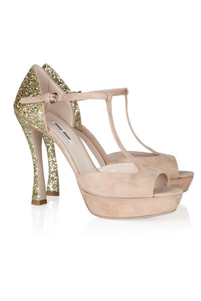 Sandalias novia Miu Miu glitter dorado
