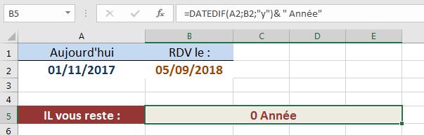 DATEDIF calcul années restantes