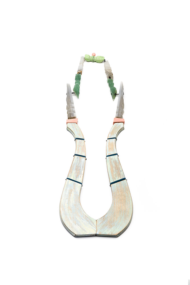 collar necklace allegro stones wood jewellery Eva Burton jewellery