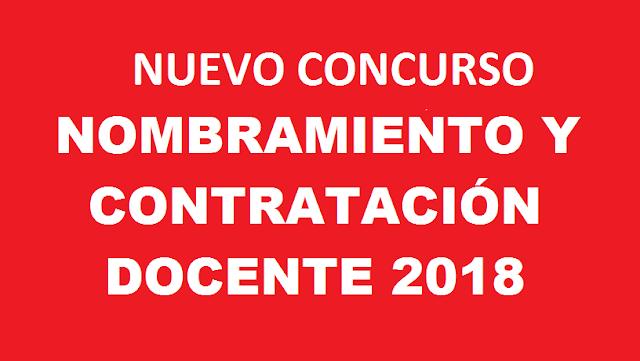 Nuevo concurso de nombramiento y contrataci n docente 2018 for Concurso docentes
