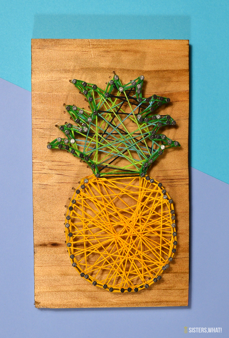 Pineapple string art embroidery thread craft