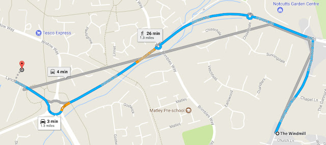 Map of bus journey