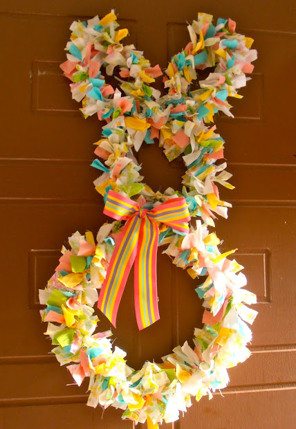 Giggleberry Creations Fabric Scrap Easter Bunny Wreath - Diy