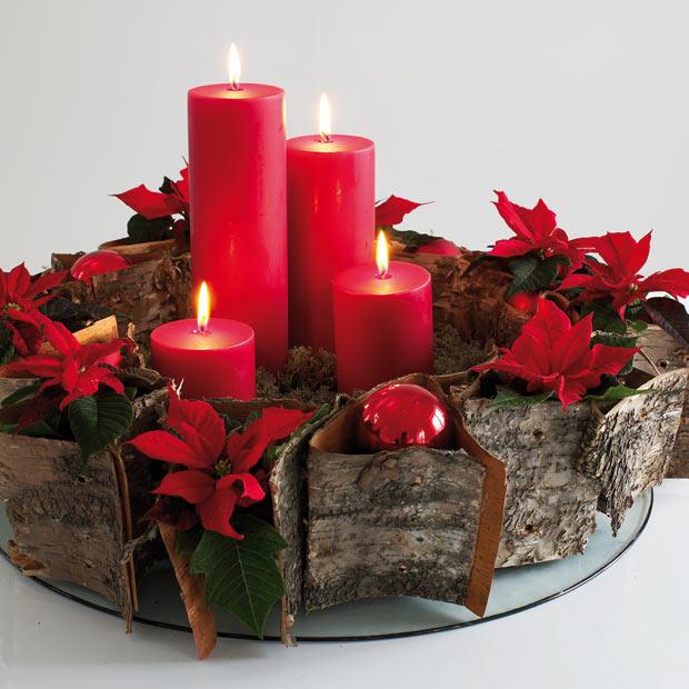 Centros De Mesas Navidenos Con Velas Rojas Blancas Decoractual - Centros-de-mesa-navideos-con-velas