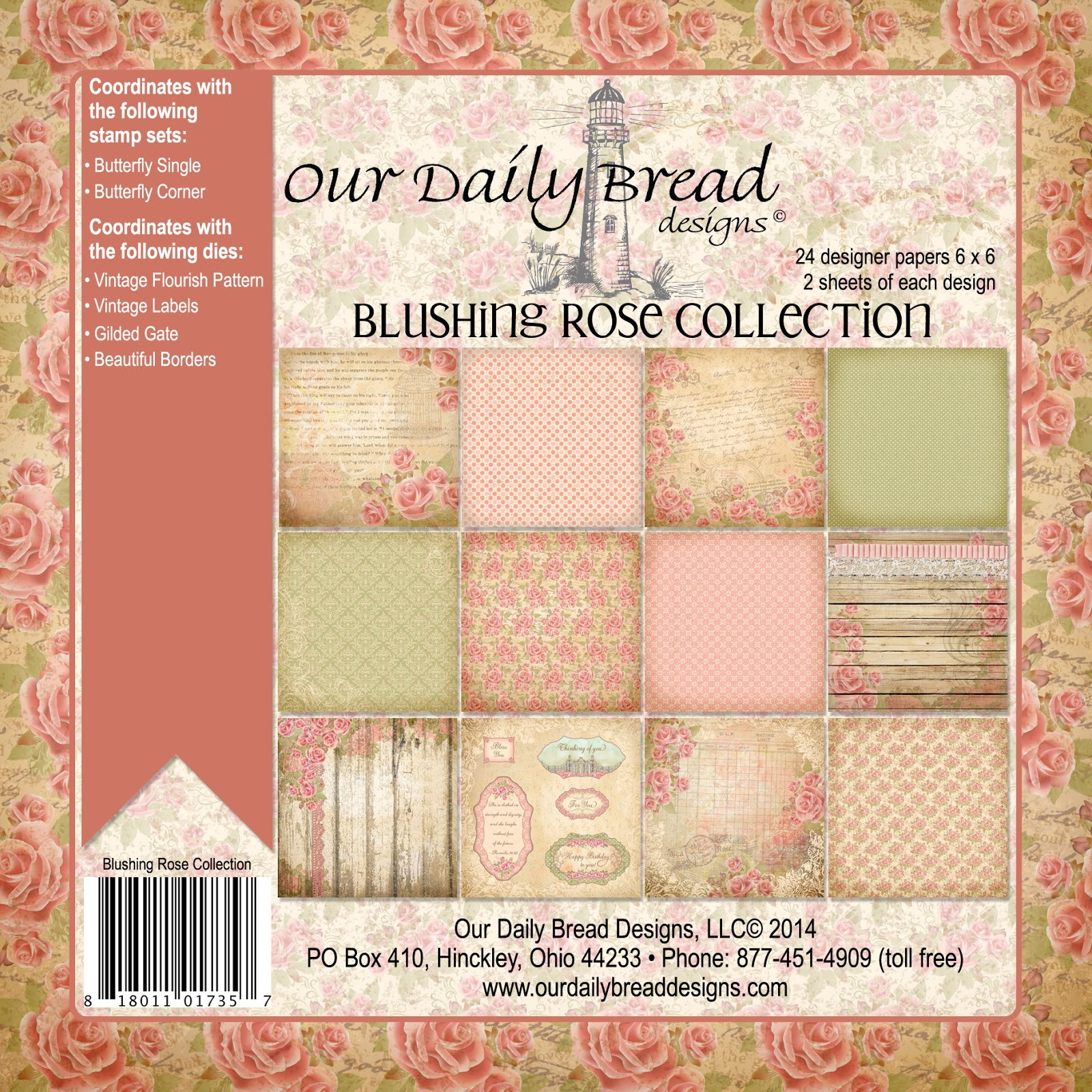 Our Daily Bread Designs Blushing Rose Paper Collection