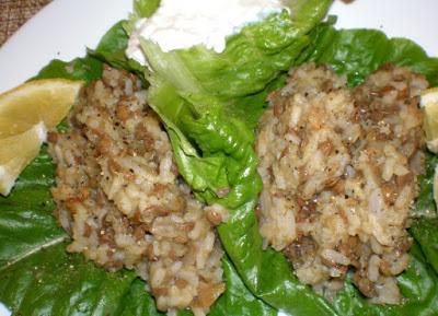 Lebanese Mjadra - Lentil & Rice Lettuce Cups