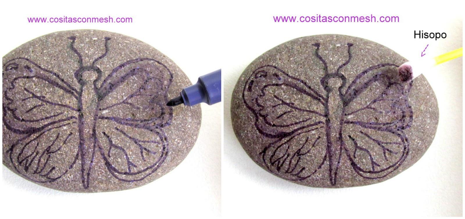 Ideas bonitas para pintar mariposas en piedras ~ cositasconmesh
