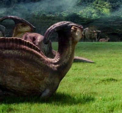 The Parasaurolophus in Jurassic Park and Jurassic World. Parasaurolophus_stegosaurus_triceratops_apatosaurus_TV_spot_screenshot%2B%25282%2529
