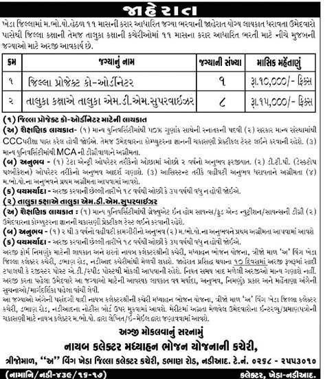 Mid Day Meal Project Kheda Recruitment 2016 For Coordinator and Supervisor Posts