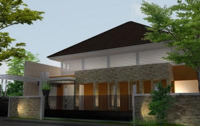 Tampak Depan Rumah Minimalis 2 Lantai dengan batu alam