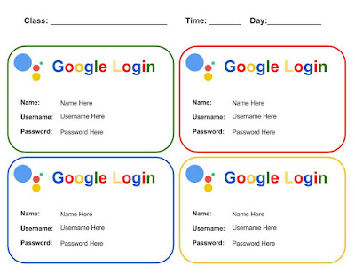 Free Student Google Login Cards