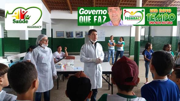 Secretaria de Saúde realiza avaliação odontológica e verificação vacinal com alunos da Escola Dr. Diomedes.