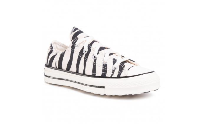 Teniși CONVERSE de femei cu imprimeu modern alb negru zebra