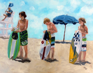 Surfer Boys original beach coastal art oil painting by artist Merrill Weber