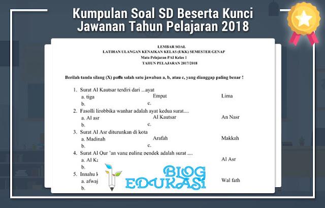 Kumpulan Soal SD Beserta Kunci Jawanan Tahun Pelajaran 2018