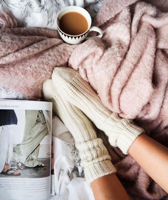 a cashmere blanket, knit socks and coffee - are perfect things for winter evening