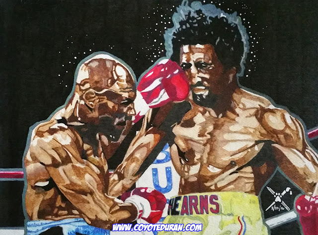 "Marvelous Marvin Hagler vs. Thomas ""Hitman"" Hearns, 10"" X 13"", watercolor paint and ink on cold press paper by Coyote Duran, boxing art"
