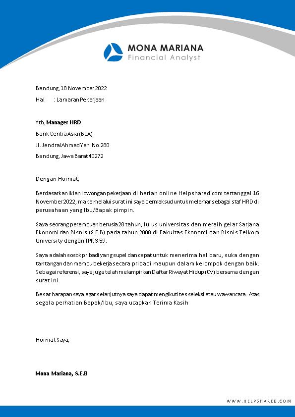 Contoh Surat Lamaran Kerja 13