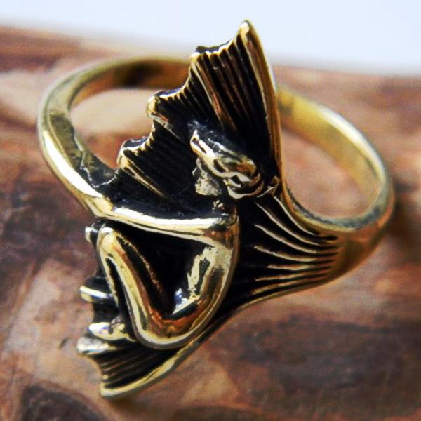 купить бронзовое кольцо русалка сирена морская дева модерн