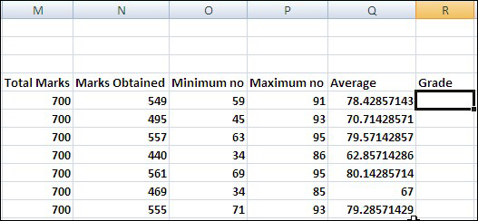 Make a Result sheet in Excel 2007