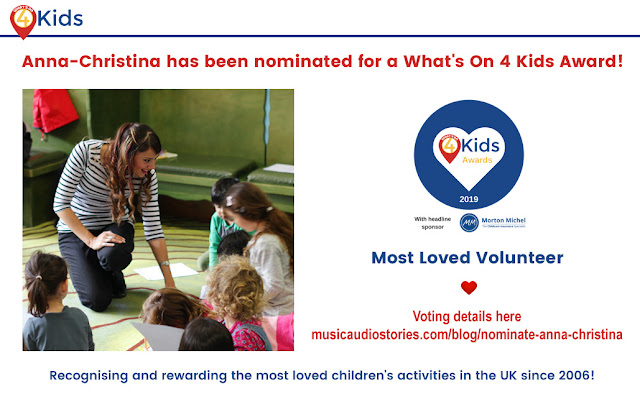 Anna-Christina from Music Audio Stories nominated for a Whats On 4 Kids Award