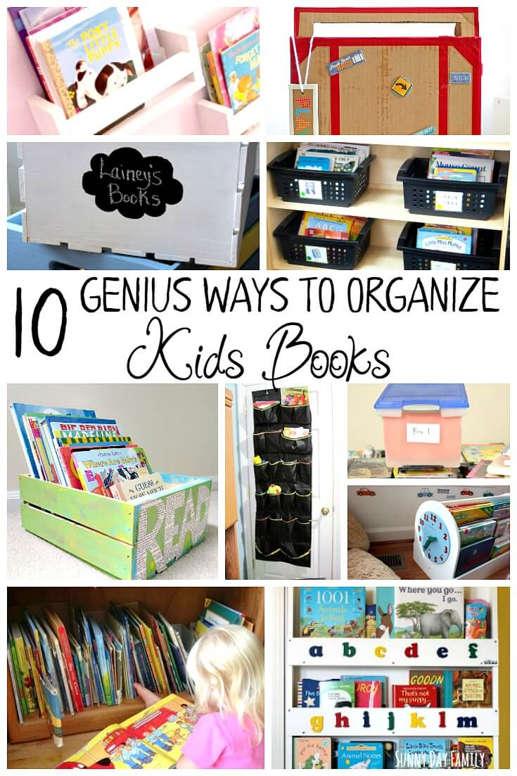 Organize your kids' books with these genius book storage ideas! Find wall storage, DIY book boxes, and organizing tips to get your kids' books organized. Love these simple kids' book hacks!