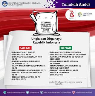 Ungkapan Dirgahayu Republik Indonesia Yang Benar