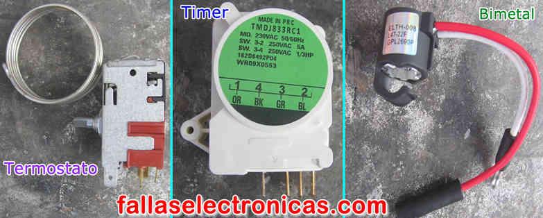 termostato, timer, bimetal, de un refrigerador no frost