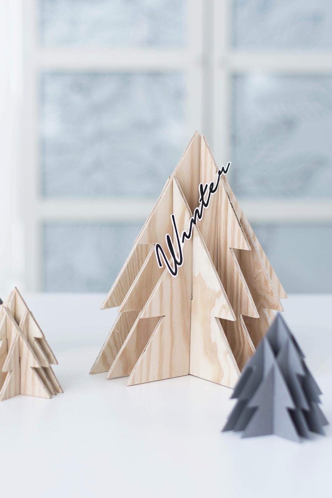 DIY 3-D Tannenbaum aus Holz
