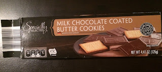 An open box of Specially Selected Milk Chocolate Coated Butter Cookies
