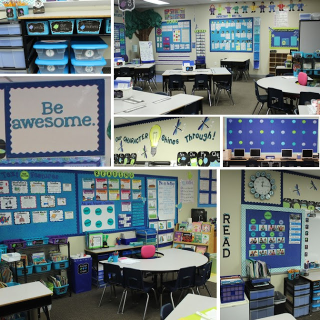 Love the calm and clean look of this blue classroom decor. The labels give it a clean and consistent look. I really like the use of space with baskets inside a desk!