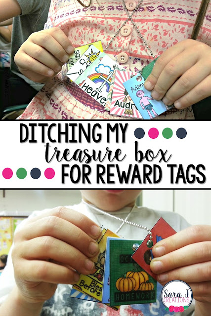 Why I ditched my treasure box and started rewarding positive behavor in the classroom with reward tag necklaces.