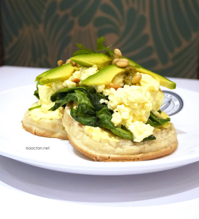 Sourdough Crumpets with Avocado, Scrambled Eggs, Pesto and Pinenuts