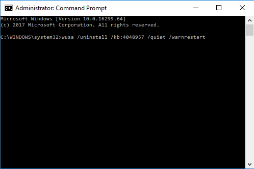 Uninstall Windows Update lewat command prompt