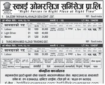 Jobs for Nepali in Saudi Arabia , Free Visa Free Ticket Salary -Rs.40,600/