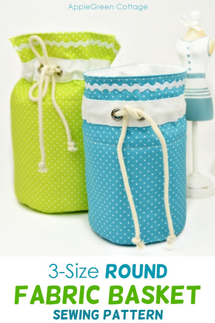 Round fabric basket pattern - Sew your own stylish storage baskets in three sizes using this PDF pattern. So many uses! Home decor and craft supplies storage, a travel cosmetic bag, toy storage. Adorable as nursery decor!