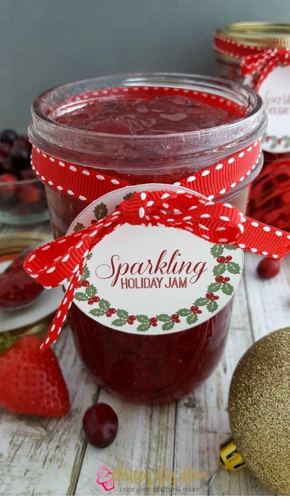 Sparkling Strawberry and Cranberry Holiday Jam