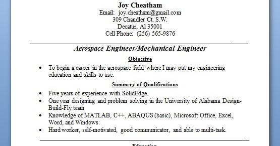 aerospace engineer resume examples in word format free