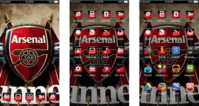 Download Tema Arsenal untuk Hp Android Apk - Black Red